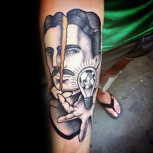 60 nikola tesla tattoo designs for men electrical for Electrical tattoos ideas