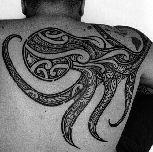 Creative Octopus Tribal Guys Back Tattoos