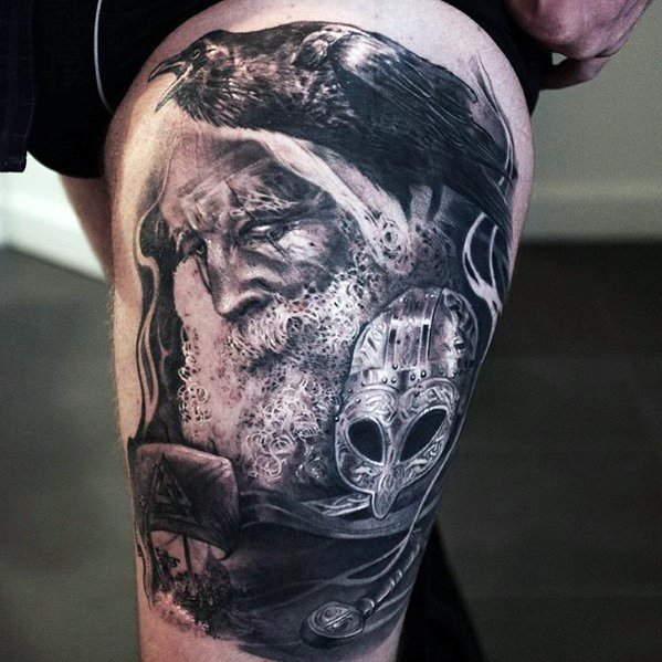 Creative Odins Ravens Tattoos For Men
