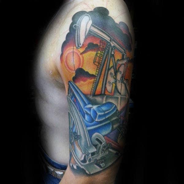 Creative Oilfield Themed Mens Half Sleeve Tattoo Design Inspiration