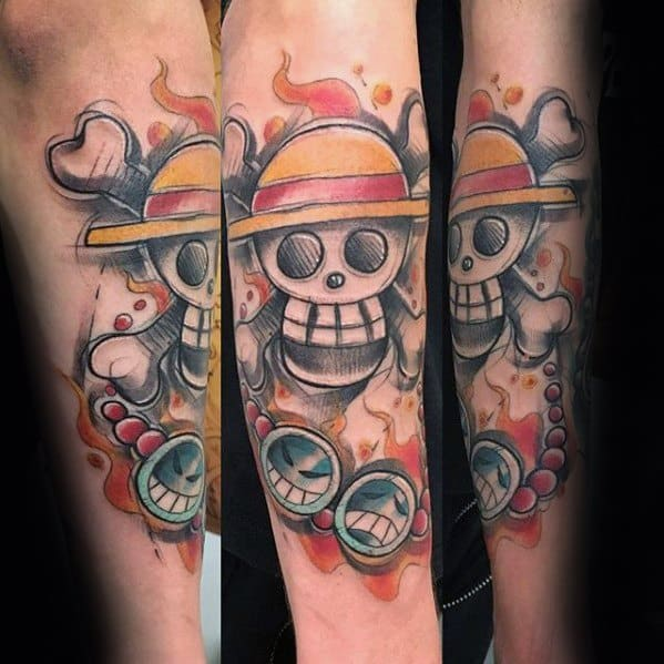 Creative One Piece Tattoos For Men On Inner Forearm