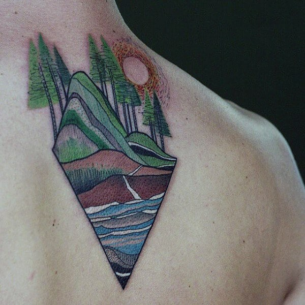Creative Outdoor Scene Tattoo Sun For Males On Back