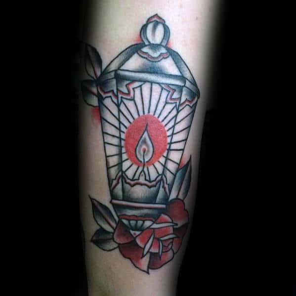 Creative Outer Arm Traditional Lantern With Red Candle Light Tattoo For Men