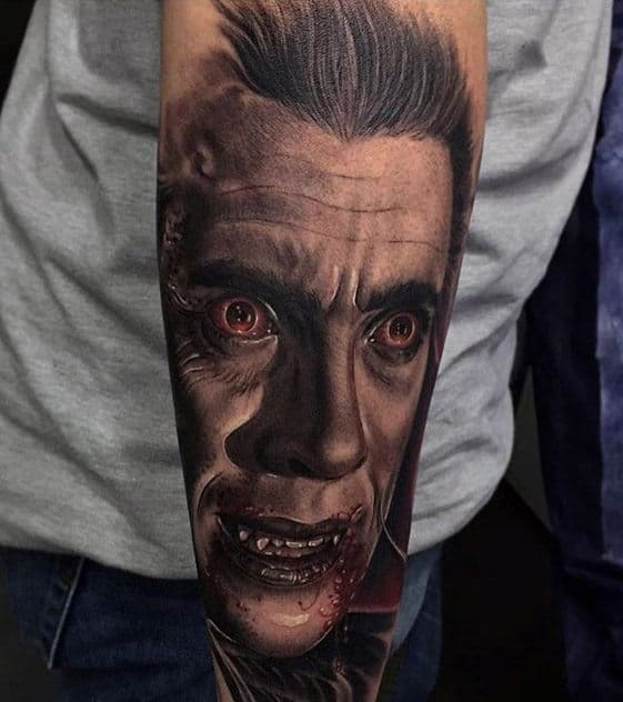 Creative Outer Forearm Dracula Portrait Mens Tattoo Inspiration