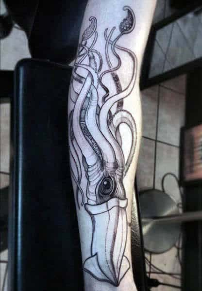 Creative Outline Mens Squid Tattoo Across Entire Forearm