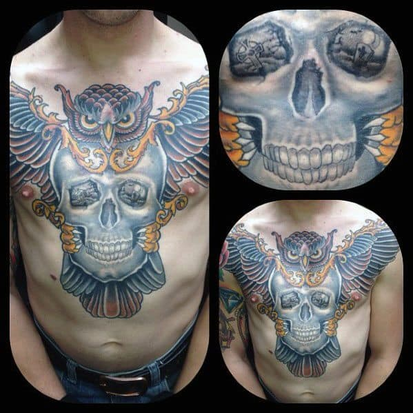 Creative Owl Chest Skull Tattoos For Men