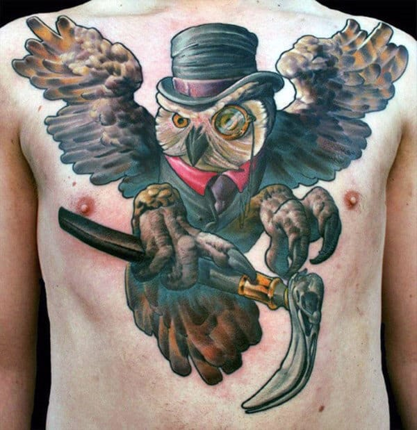 Creative Owl Wearing Top Hat With Cane Chest Tattoo On Male