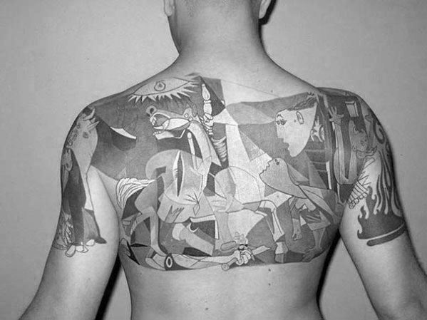 Creative Pablo Picasso Tattoos For Men On Upper Back
