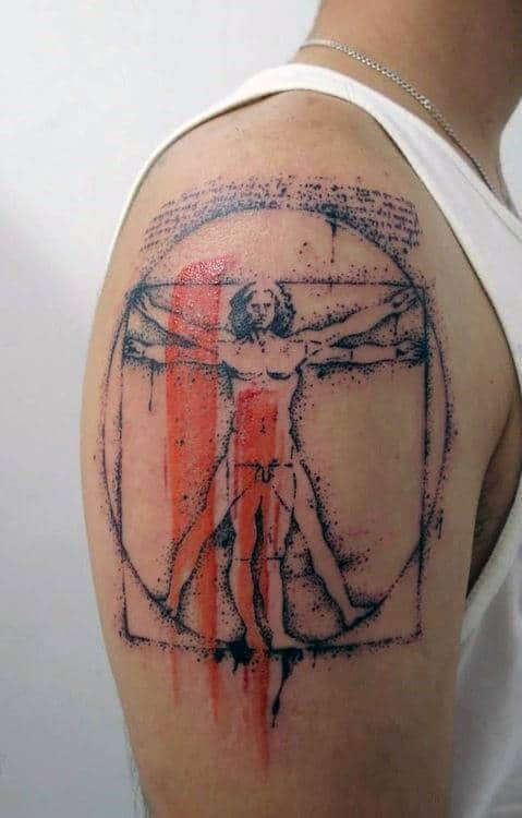 Creative Paint Brush Stroke Vitruvian Man Guys Upper Arm Tattoos