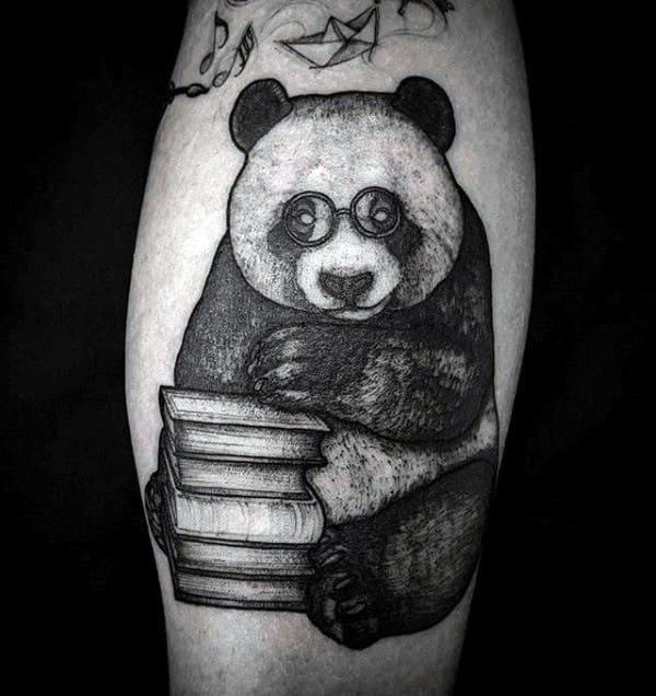 Creative Panda Bear With Stack Of Books Mens Leg Calf Tattoos