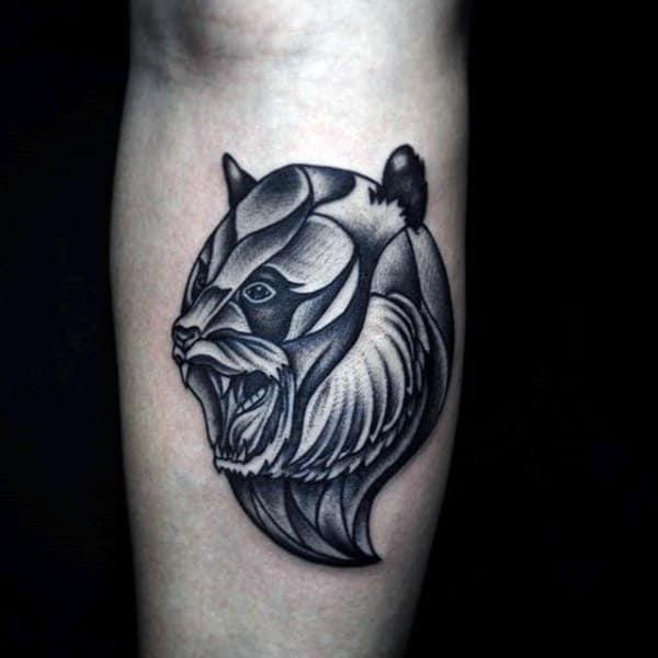 Creative Panda Shaded Mens Inner Forearm Tattoo