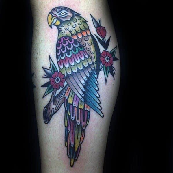 Creative Parrot Tattoos For Men Side Of Leg