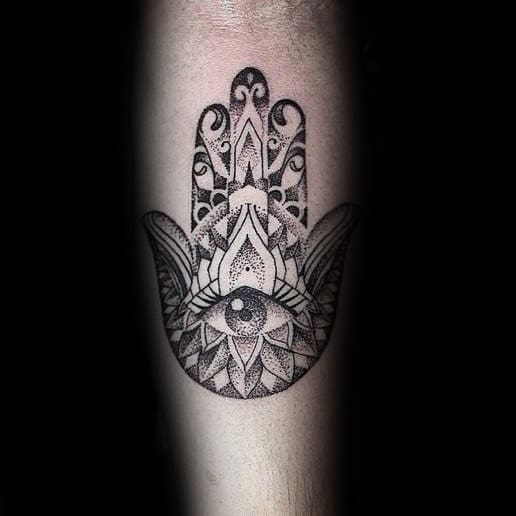 Creative Pattern Hamsa Hand Tattoo With Eye Design Mens Inner Forearm Ink Ideas