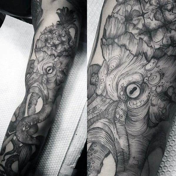 Creative Pineapple Octopus Full Arm Detailed Tattoos For Men