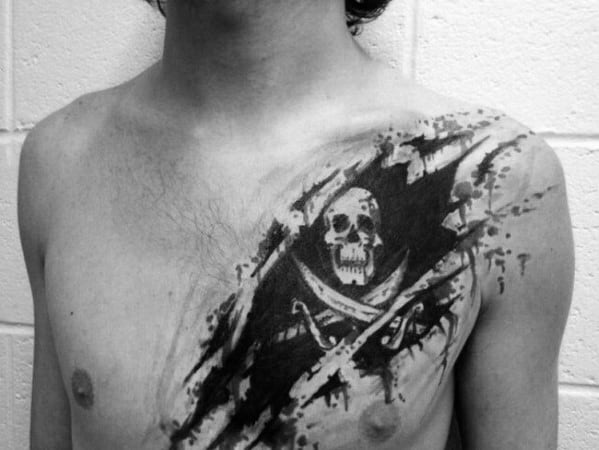 Creative Pirate Flag Watercolor Ripped Skin Tattoos For Men On Chest