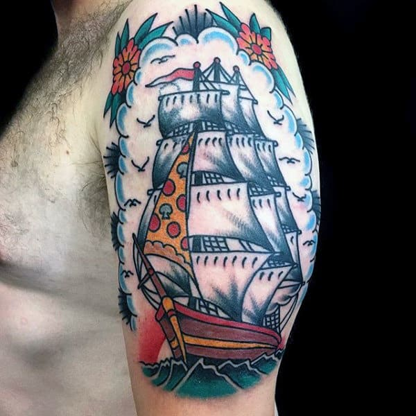 60 Traditional Ship Tattoo Designs For Men - Nautical Ink ...Old School Battleship Tattoos