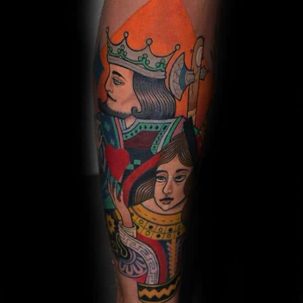 Creative Playing Card King And Queen Forearm Tattoo On Male