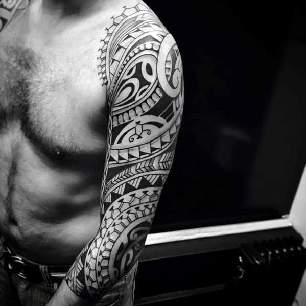 Creative Polynesian Guys Tribal Sleeve Tattoo Design Ideas