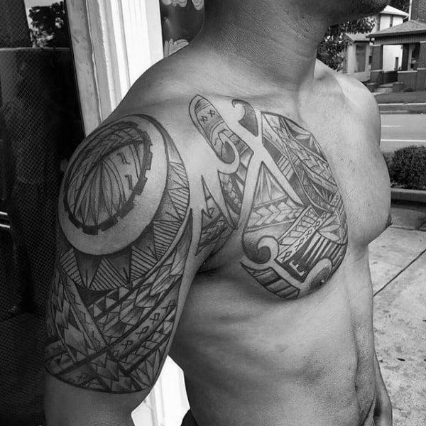 Creative Polynesian Male Chest Tattoos