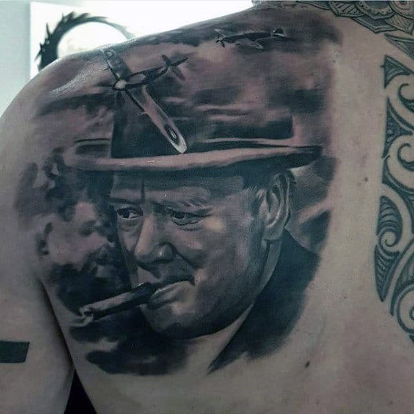 Creative President Ww2 Mens Shoulder Back Tattoo