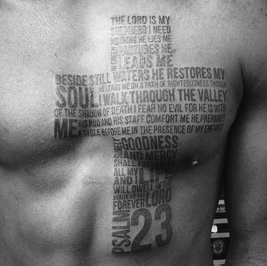 Creative Psalm 23 Cross Mens Typhography Chest Tattoos
