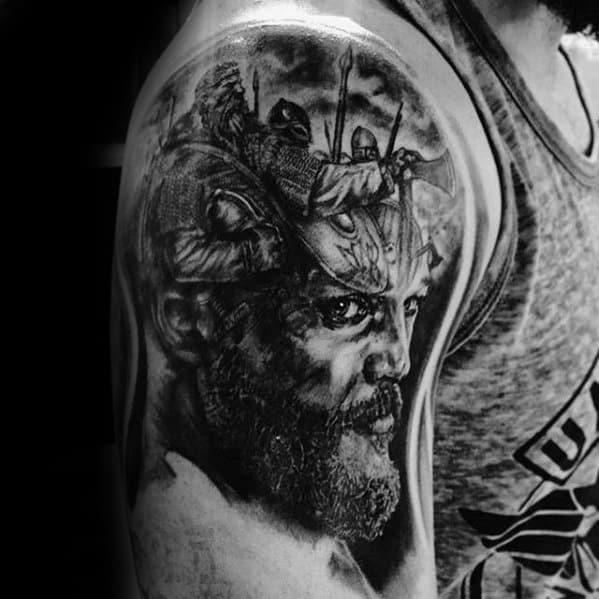 Creative Ragnar Tattoos For Men Quarter Sleeve