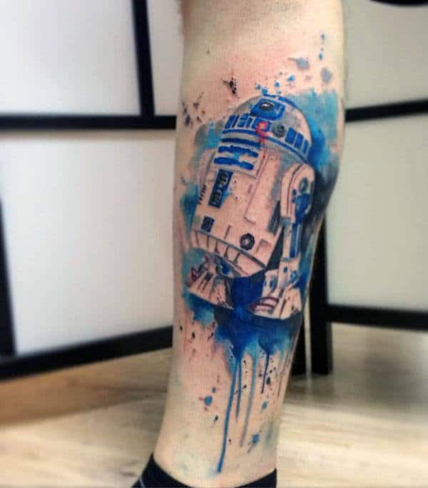 Creative Rd2d Dripping Watercolor Mens Leg Tattoos