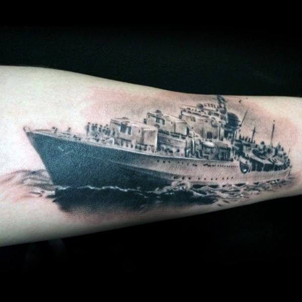 Creative Realistic Battleship Forearm Tattoos For Men