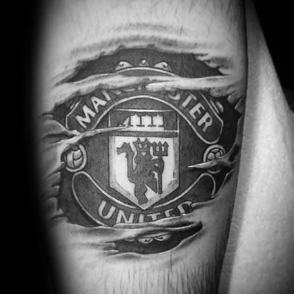 Creative Ripped Skin Arm Manchester United Tattoos For Men