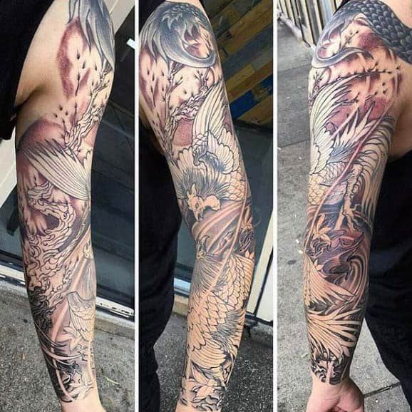 Creative Rooster Tattoo For Men Full Sleeve