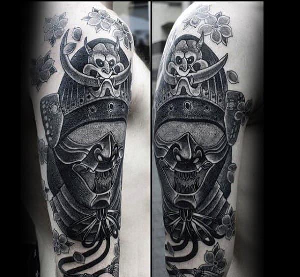 Creative Samurai Helmet Black And Grey Guys Arm Tattoo