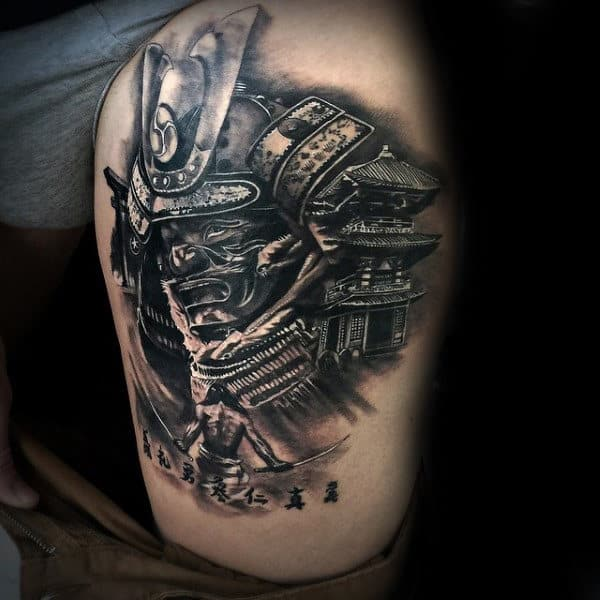 Creative Samurai Ninja Mens Thigh Tattoos