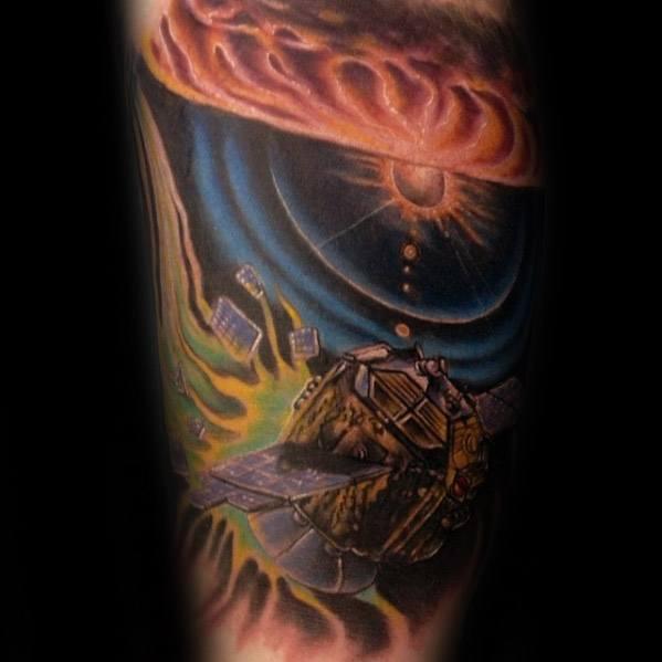 Creative Satellite Tattoos For Men On Arm