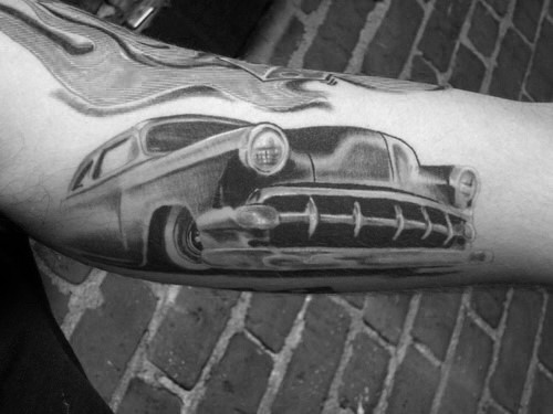 Creative Shaded Chevy Classic Car Arm Tattoos For Guys