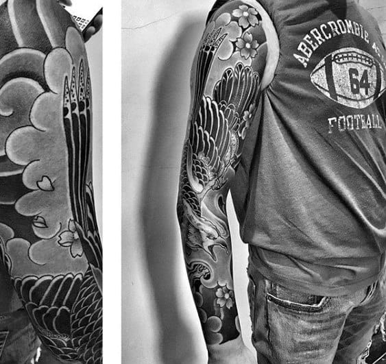 Creative Shaded Japanese Cloud Male Full Sleeve Tattoo Ideas