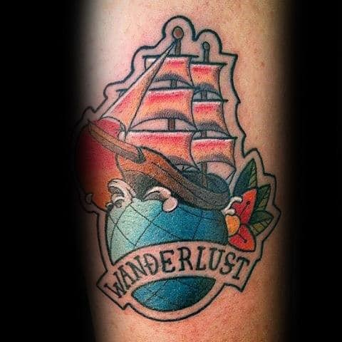 Creative Ship Sailing On Globe Male Forearm Wanderlust Tattoos