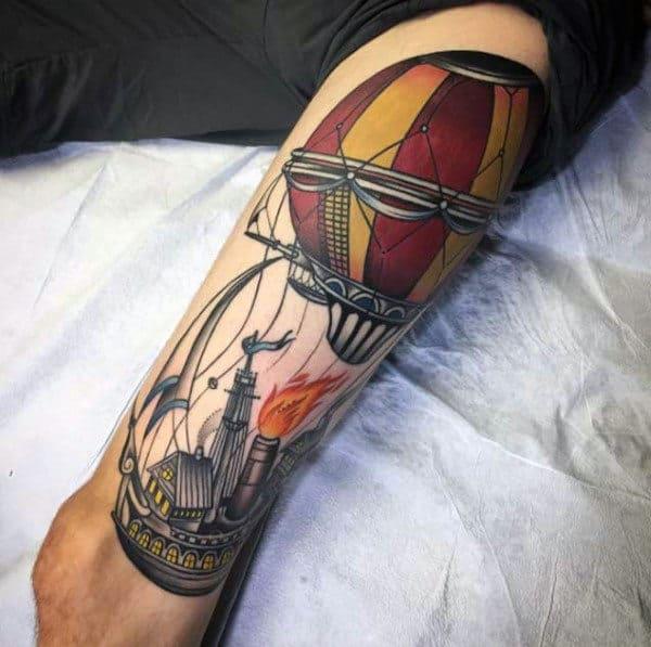 Creative Ship With Hot Air Balloon Mens Leg Tattoo Designs