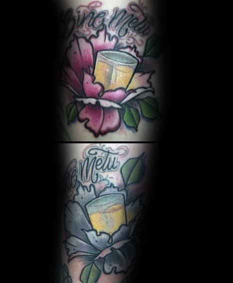 Creative Shot Glass Tattoos For Guys