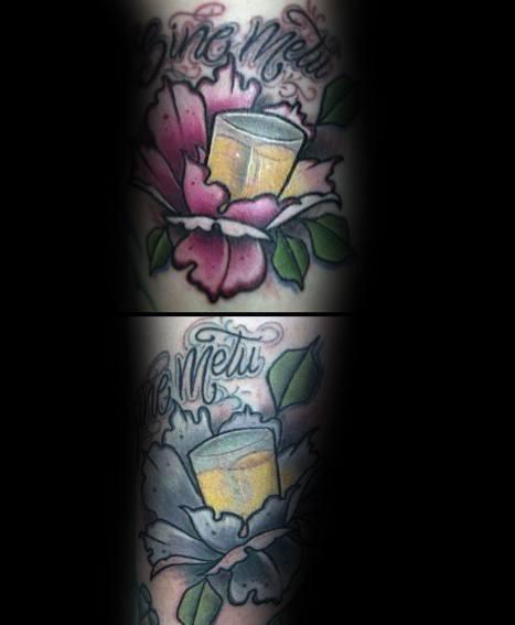 Creative Shot Glass Tattoos For Guys