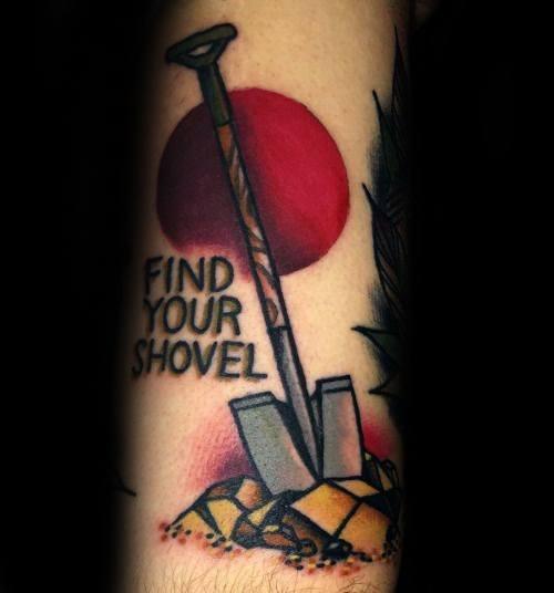 Creative Shovel Tattoos For Guys