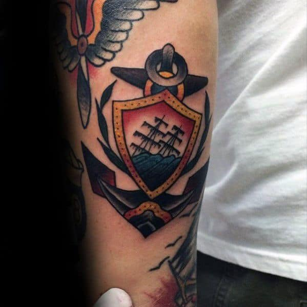 Creative Sinking Ship Small Traditional Anchor Arm Tattoos For Men