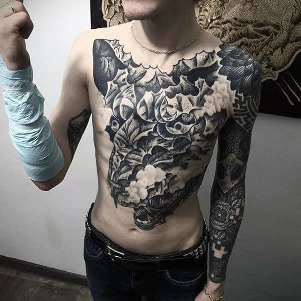 Creative Skull Guys Badass Chest Tattoos
