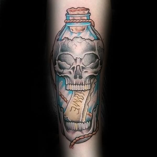 Creative Skull Message In A Bottle Tattoos For Men On Forearm