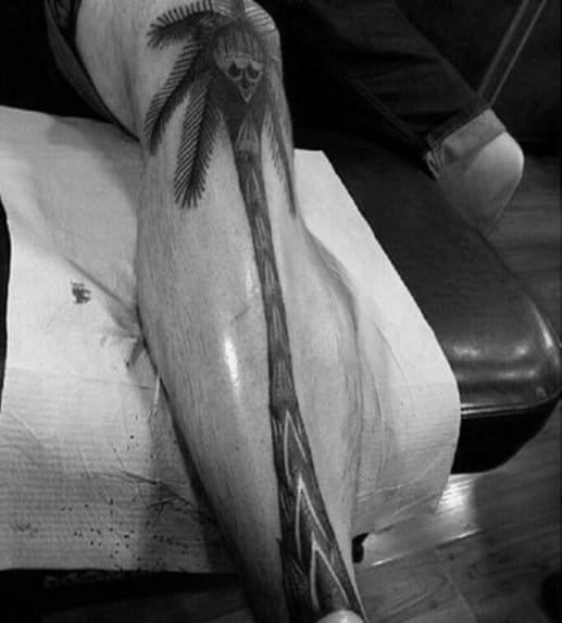 Creative Skull Palm Tree Leg Tattoos For Guys