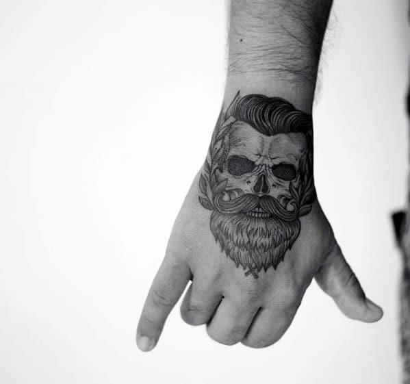 Creative Skull With Beard Guys Small Hand Tattoo