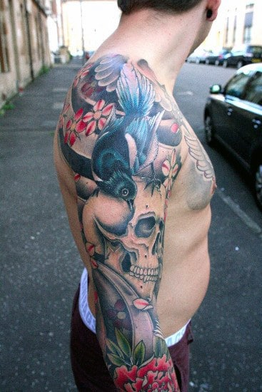 Creative Sleeve Japanese Skull Tattoo Ideas For Men