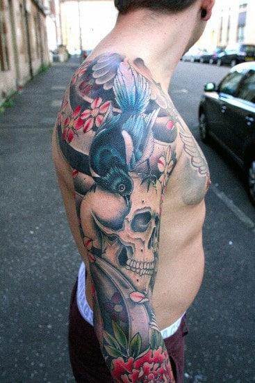 Creative Sleeve Japanese Skull Tattoo Ideas For Men