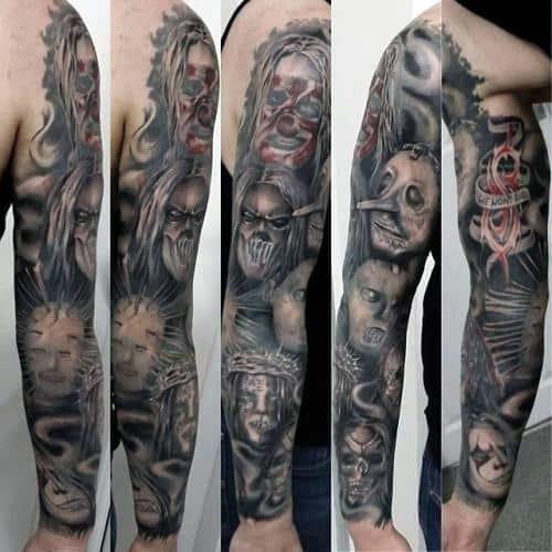 Creative Slipknot Themed Full Arm Sleeve Tattoos For Men