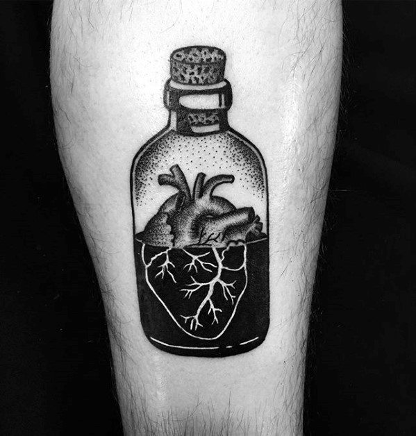 Creative Small Manly Mens Heart In A Glass Bottle Forearm Tattoo