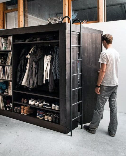 Creative Space Saving Cube Closet Design For Guys